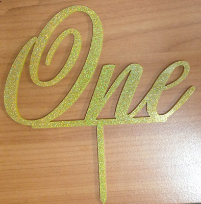 """One"" Gold Glitter Acrylic Topper"