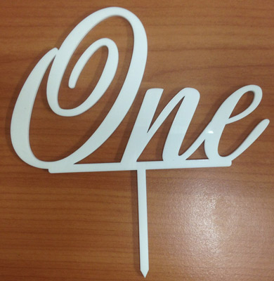 """One"" Glossy White Acrylic Topper"