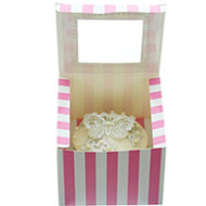 Pink & White C/Cake Box Single