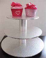 Silver Wood 3 Tier Cupcake Stand