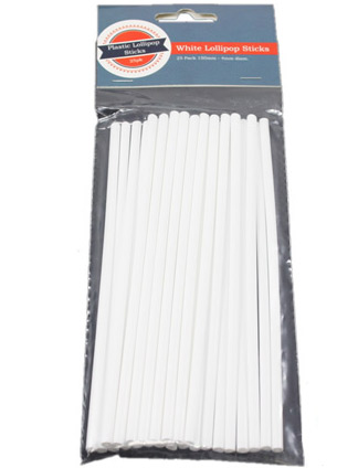 "White 6"" Long Plastic Pop Sticks"