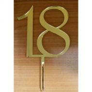 '18' Gold Mirror Acrylic Topper