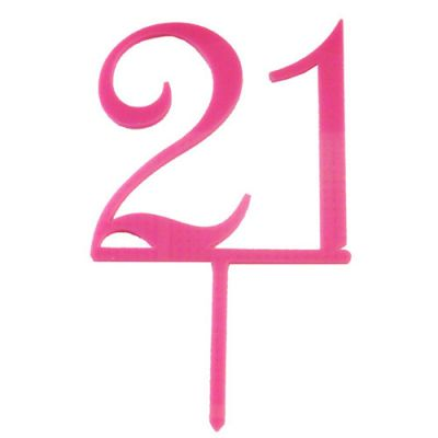 '21' Bright Pink Acrylic Topper
