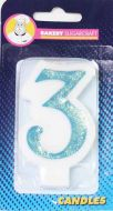 #3 Blue Glitter Number Candle