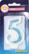 #5 Blue Glitter Number Candle