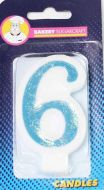 #6 Blue Glitter Number Candle