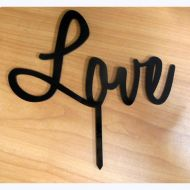 'Love' Black  Acrylic Cake Topper