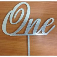 """One"" Silver Glitter Acrylic Topper"