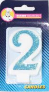 #2 Blue Glitter Number Candle