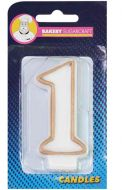 #1 Gold Edged Numeral Candle