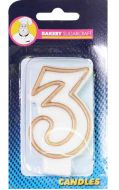 #3 Gold Edged Numeral Candle