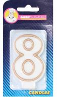#8 Gold Edged Numeral Candle