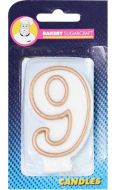 #9 Gold Edged Numeral Candle