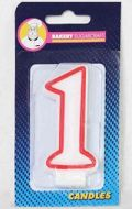 #1 Red Edged Numeral Candles