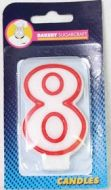 #8 Red Edged Numeral Candles