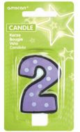 #2 Numeral Candle With Dots