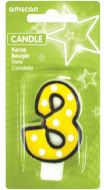 #3 Numeral Candle With Dots