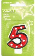 #5 Numeral Candle With Dots