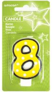 #8 Numeral Candle With Dots
