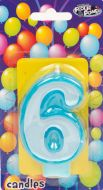Blue #6 Numeral Candle