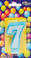 Blue #7 Numeral Candle