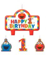 Elmo Turns One B'day Candle Set