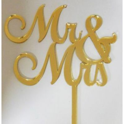Mr & Mrs  Gold Mirror Topper
