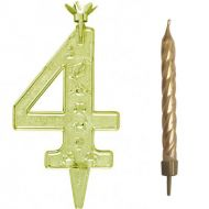 #4 Gold Zodiac Number with Candle