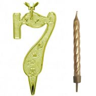#7 Gold Zodiac Number with Candle