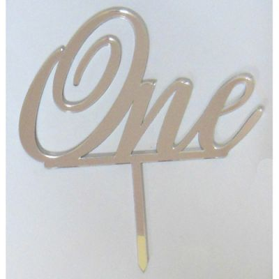 """One"" Silver Mirror Acrylic Topper"