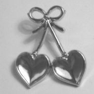 Silver Double Hearts & Bow.