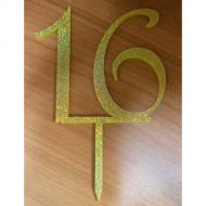 '16' Gold Glitter Acrylic Topper