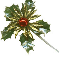 Gold and Green Metallic Finish Holly Spray on a Spike
